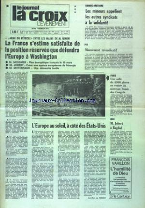 JOURNAL LA CROIX L'EVENEMENT (LE)  no:27696 07/02/1974