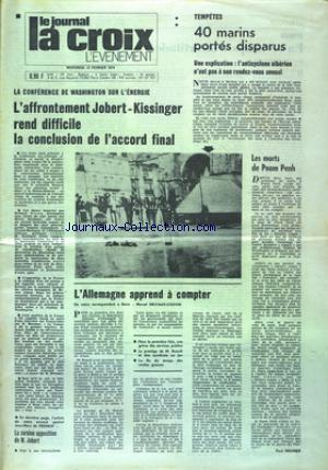 JOURNAL LA CROIX L'EVENEMENT (LE)  no:27701 13/02/1974