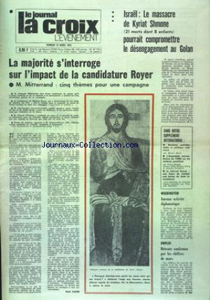 JOURNAL LA CROIX L'EVENEMENT (LE)  no:27752 13/04/1974