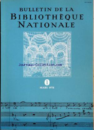 BULLETIN DE LA BIBLIOTHEQUE NATIONALE no:1 01/03/1978