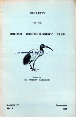 BULLETIN OF THE BRITISH ORNITHOLOGIST'S CLUB no:77 01/12/1957