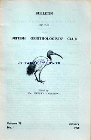 BULLETIN OF THE BRITISH ORNITHOLOGIST'S CLUB no:78 01/01/1958