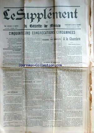 SUPPLEMENT DE LA GAZETTE DE FRANCE (LE) no: 03/12/1902