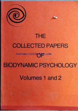 COLLECTED PAPERS OF BIODYNAMIC PSYCHOLOGY no:1