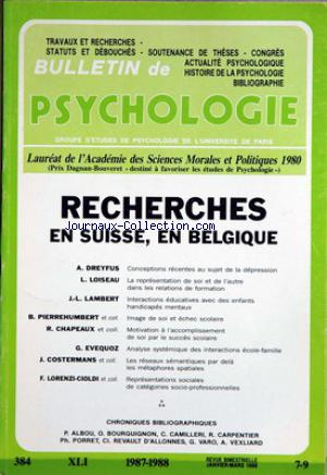 BULLETIN DE PSYCHOLOGIE no:7 - 9 01/01/1988