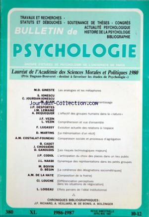 BULLETIN DE PSYCHOLOGIE no:10 - 12 01/04/1987