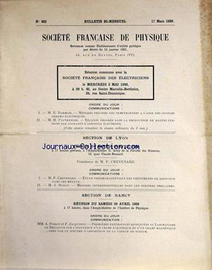 BULLETIN DE LA SOCIETE FRANCAISE DE PHYSIQUE no:432 17/03/1939
