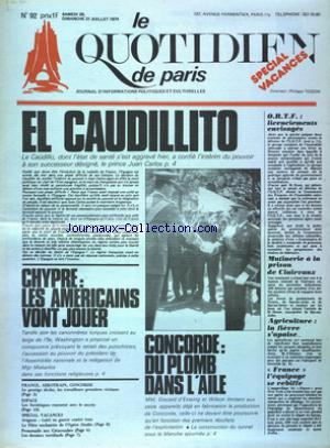 QUOTIDIEN DE PARIS (LE) no:92 20/07/1974