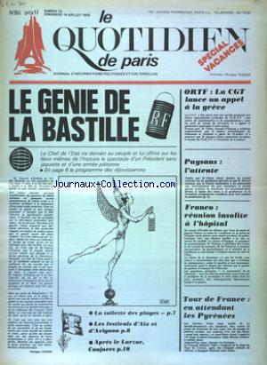 QUOTIDIEN DE PARIS (LE) no:86 13/07/1974