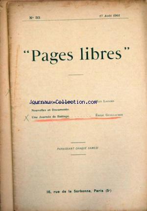 PAGES LIBRES no:33 17/08/1901