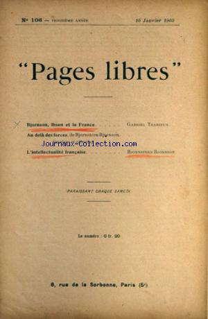 PAGES LIBRES no:106 10/01/1903