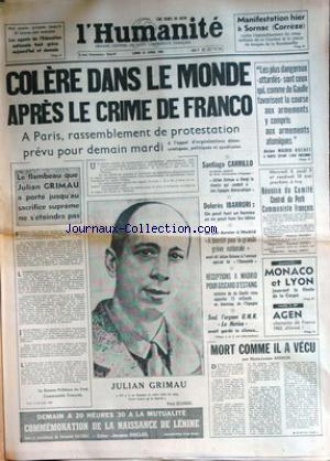 HUMANITE (L') no: 22/04/1963