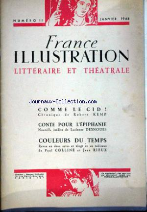 FRANCE ILLUSTRATIONLITTERAIRE ET THEATRALE no:11 01/01/1948