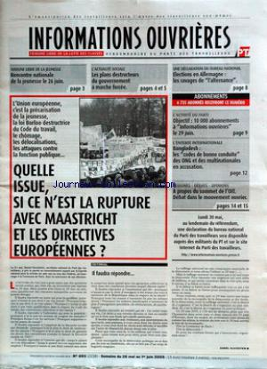 INFORMATIONS OUVRIERES no:693 26/05/2005