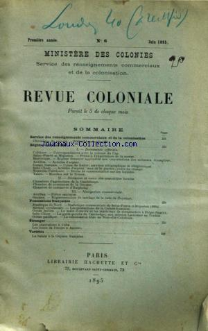 REVUE COLONIALE no:6 01/06/1895