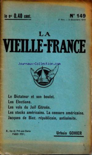 VIEILLE FRANCE (LA) no:149 27/11/1919