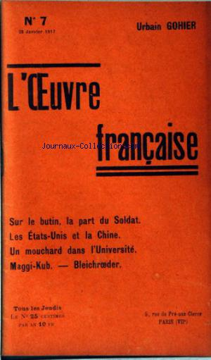OEUVRE FRANCAISE (L') no:7 25/01/1917