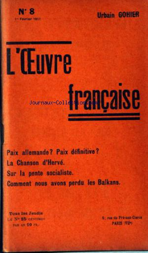 OEUVRE FRANCAISE (L') no:8 01/02/1917