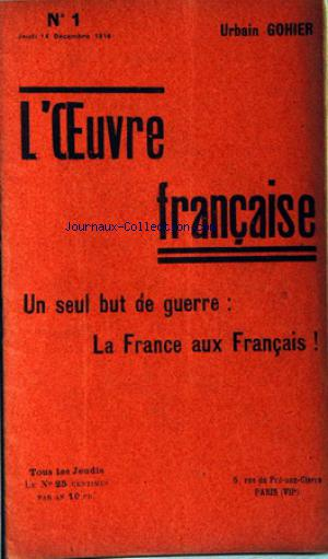 OEUVRE FRANCAISE (L') no:1 14/12/1916