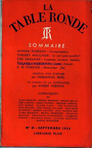 TABLE RONDE (LA) no:81 01/09/1954