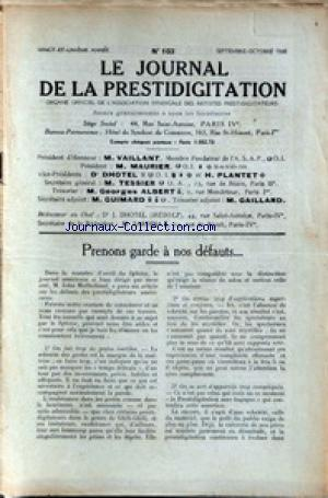 JOURNAL DE LA PRESTIDIGITATION no:103 01/09/1938