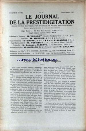 JOURNAL DE LA PRESTIDIGITATION no:94 01/03/1937