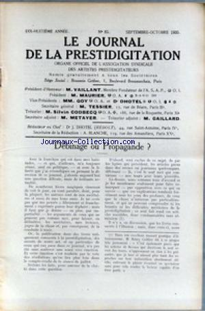 JOURNAL DE LA PRESTIDIGITATION no:85 01/09/1935