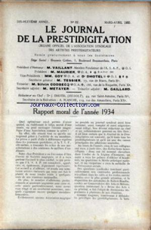 JOURNAL DE LA PRESTIDIGITATION no:82 01/03/1935