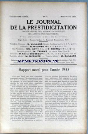JOURNAL DE LA PRESTIDIGITATION no:76 01/03/1934