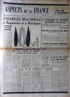 ASPECTS DE LA FRANCE no:219 28/11/1952