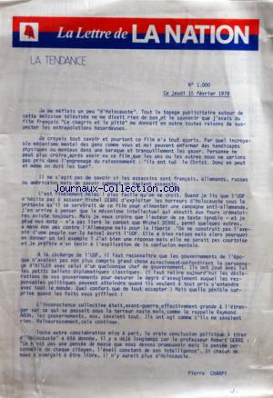 LETTRE DE LA NATION (LA) no:1000 15/02/1979