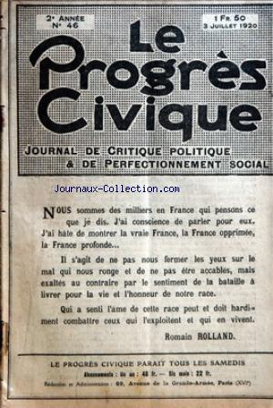 PROGRES CIVIQUE (LE) no:46 03/07/1920