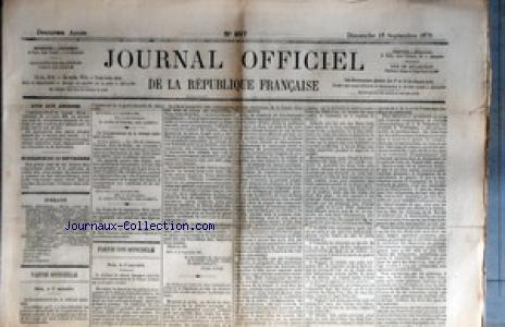 JOURNAL OFFICIEL DE LA REPUBIQUE FRANCAISE no:257 18/09/1870