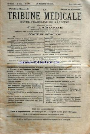 TRIBUNE MEDICALE (LA) no:16 15/04/1896