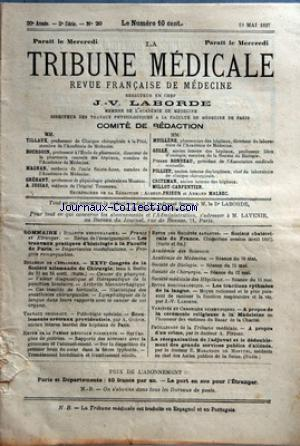 TRIBUNE MEDICALE (LA) no:20 19/05/1897