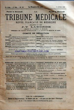 TRIBUNE MEDICALE (LA) no:16 17/04/1901