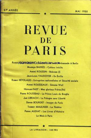 REVUE DE PARIS no: 01/05/1950