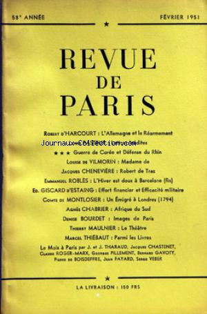 REVUE DE PARIS no: 01/02/1951