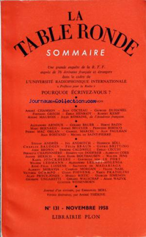 TABLE RONDE (LA) no:131 01/11/1958