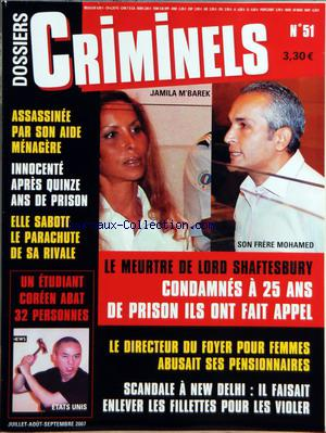 DOSSIERS CRIMINELS no:51 01/07/2007