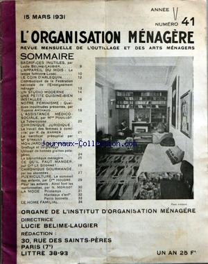 ORGANISATION MENAGERE (L') no:41 15/03/1931