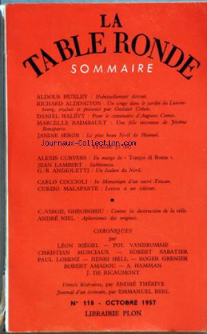TABLE RONDE (LA) no:118 01/10/1957