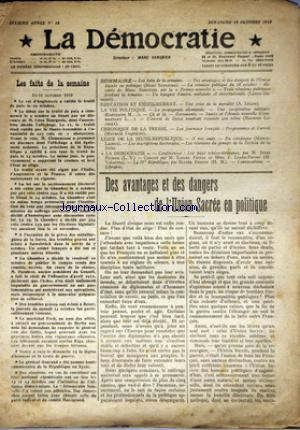 DEMOCRATIE (LA) no:18 19/10/1919
