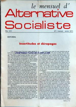 ALTERNATIVE SOCIALISTE no:1 01/01/1977