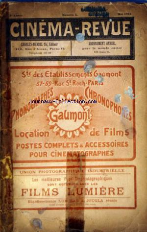 CINEMA REVUE no:5 01/05/1913