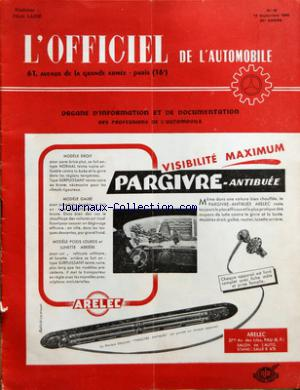 OFFICIEL DE L'AUTOMOBILE (L') no:18 10/09/1955