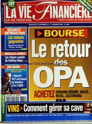 VIE FINANCIERE (LA) no:2894 25/11/2000