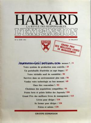 HARVARD L'EXPANSION no:21 01/07/1981