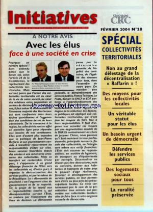 INITIATIVES GROUPE CRC no:28 01/02/2004