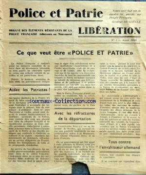 POLICE ET PATRIE LIBERATION no:1 01/04/1944